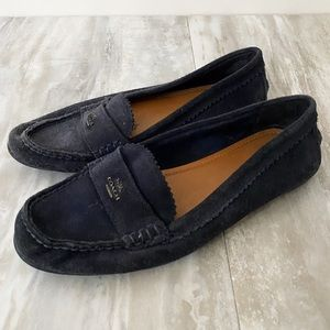 Coach Odette Navy Suede Driving Loafers